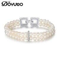 DOYUBO Women 925 Sterling Silver Double Rows Pearl Bangle New 4mm White Freshwater Pearl Bracelet Lady Pearl Fine Jewelry VD060