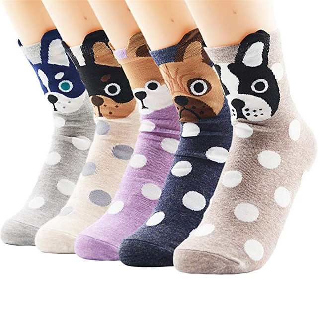 AZUE Women Winter Socks Cute Animal Pattern Funny Socks Warm Sleep Socks 5 Pack