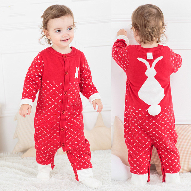 f9389781a069 Warm Infant Baby Cotton Romper Kids Knitting Jumpsuit Girls Boys Long  Sleeve Romper Suits