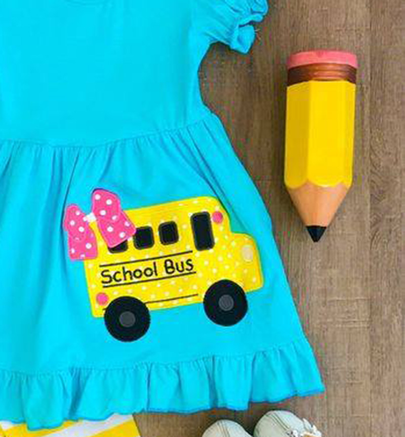 2T Girls School Bus shirt blouse top pants Boutique Back to School Outfit 18m