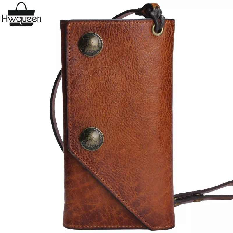 58c717d1986a Unique Cool Designer Genuine Cowhide Men Tanned Long Wallet With Leather  Strap Zipper Pocket Vintage Hasp