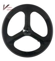 Full Carbon Tri Spoke 3 Spoke Carbon Wheel 70mm Clincher For Road Track Triathlon Time Trial