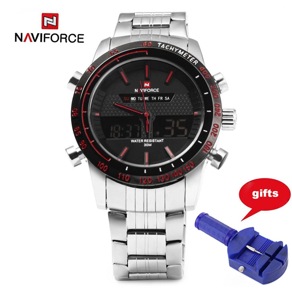 NAVIFORCE 9024 Watches Men Quarz Watch Analog Digital LED Wristwatch Stainless Steel Strap Calendar Business Luxury