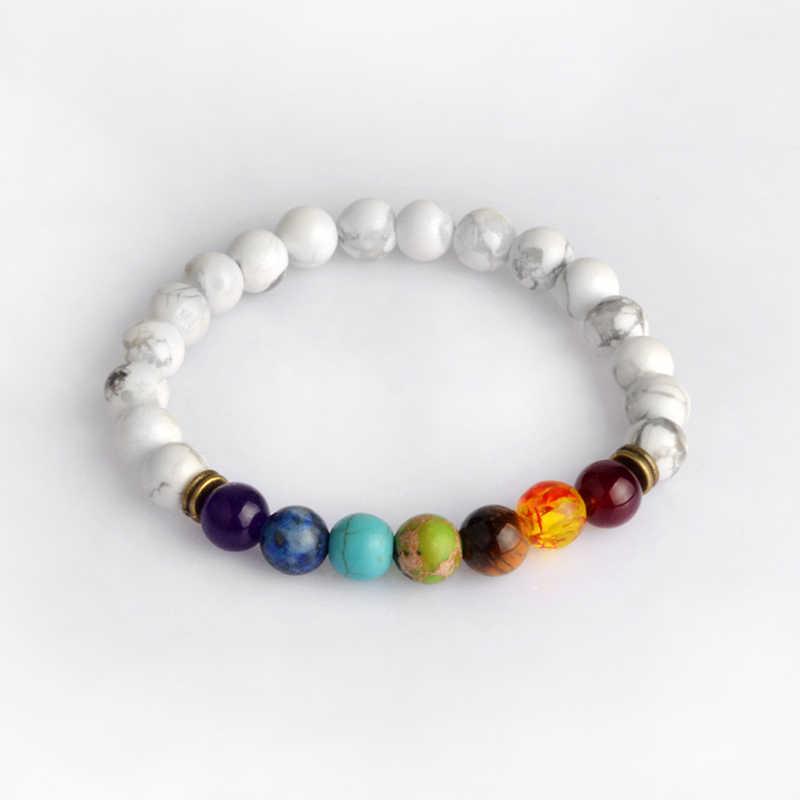7 Chakra bransoletka, 6 cm kolorowe koraliki kamień Stretch bransoletka z lawy wulkanicznej, bransoletka energetyczna joga biżuteria dla mężczyzn kobieta