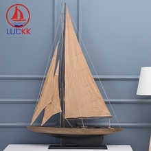 LUCKK 90 CM American Model Ships Home Interior Vintage Burlywood Decoration Accessories Wood For Crafts Sea Style Holiday Gift