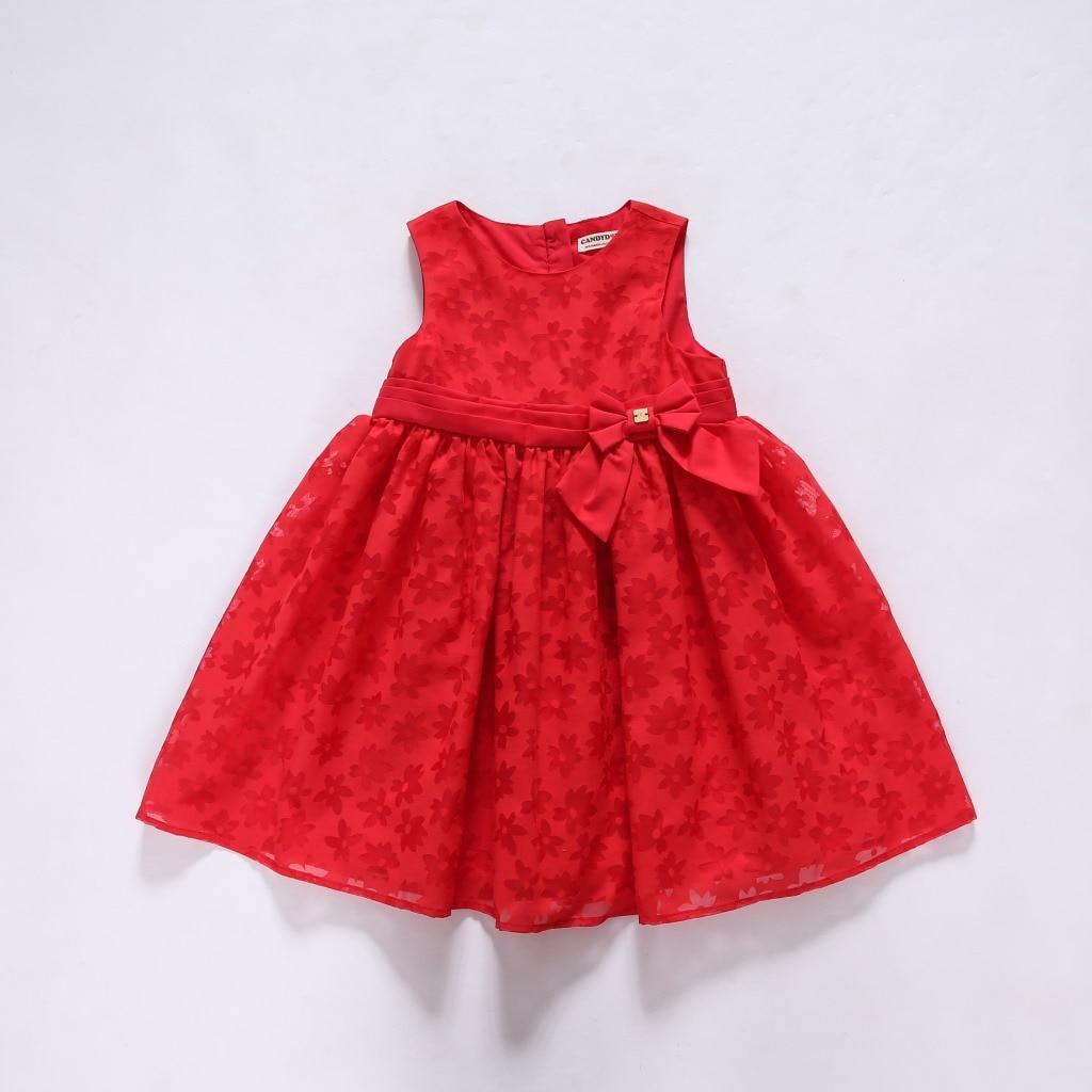 Zomer nieuwe kinderjurk Effen kleur Rood Kindermeisjes Jurken - Kinderkleding - Foto 5
