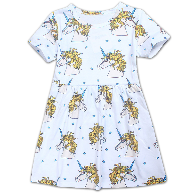 Children Dress 2018 European And American Style Kids Girls Animals Unicorn Printed Cotton Dress 5-8Y Baby Clothing Girls Dress the new children s cubs hat qiu dong with cartoon animals knitting wool cap and pile