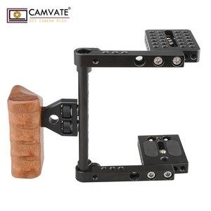 Image 3 - CAMVATE هيكل قفصي الشكل للكاميرا الإفراج السريع نصف قفص مع مقبض خشبي (يمين) للكاميرا DSLR نظام مستقر التصوير Accessories2020