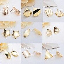 30 قطعة الذهب مثلث مربع نجمة أقراط قطرة بلينغ الأذن ترصيع موصل المشاركات دبابيس قاعدة إعدادات صنع المجوهرات اليدوية DIY