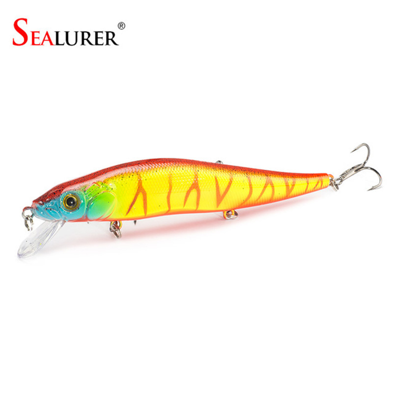 SEALURER Minnow Pesca Lure 14cm 23g 2 # Куки Carp Риболов Воблер Плаващ Hard Bait Isca Crankbait Tackle 1бр / лот 9 цвята