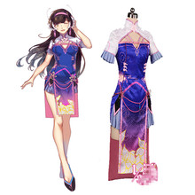 2017 New Design Game OW Costumes D,va Cosplay Cheongsam Outfits For Girls Blue Sexy Women Halloween,Stage Clothing