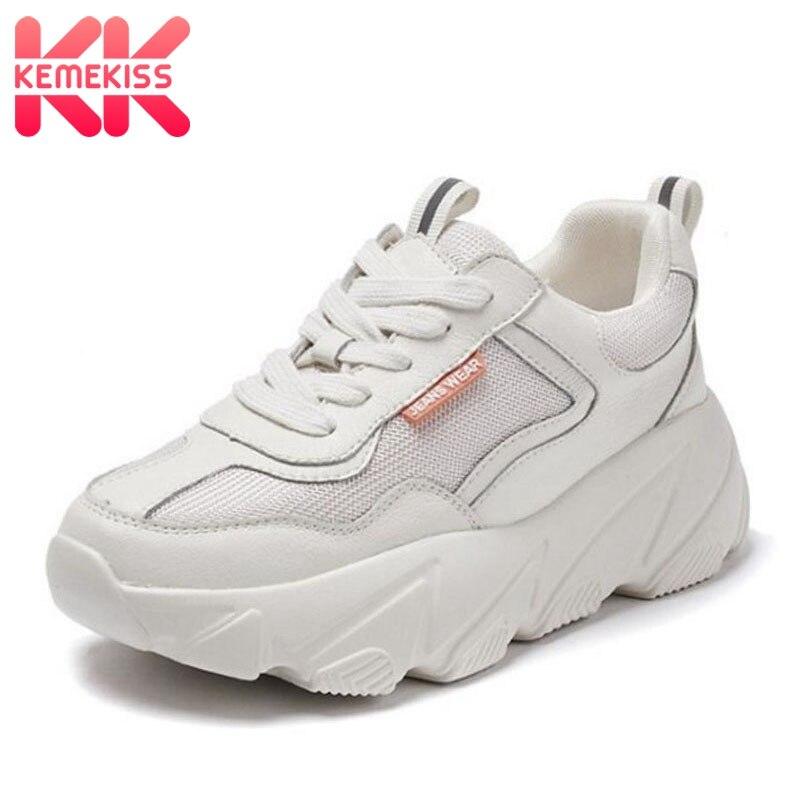KemeKiss Basket Femme baskets en cuir véritable femmes chaussures vulcanisées fond épais plate-forme maille femmes loisirs chaussures taille 35-39