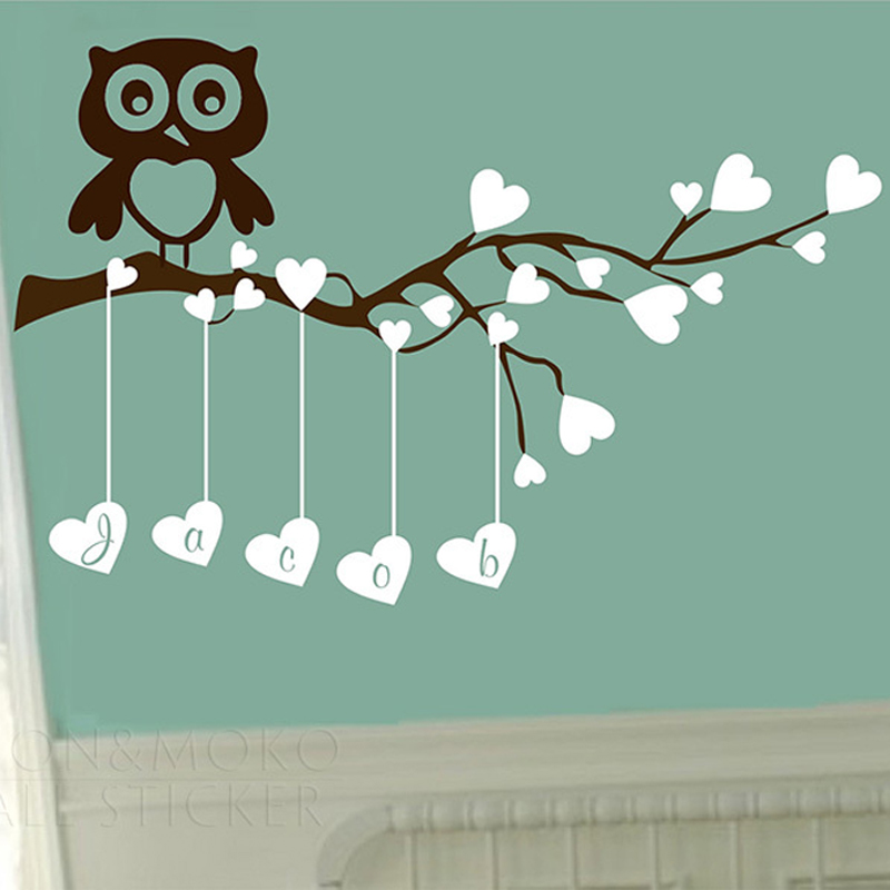 Creative Owl Love Heart Tree Branch Personalized Customized Name Wall Sticker Decal Mural Vinyl Art Baby Girl Boy Home 58x88cm