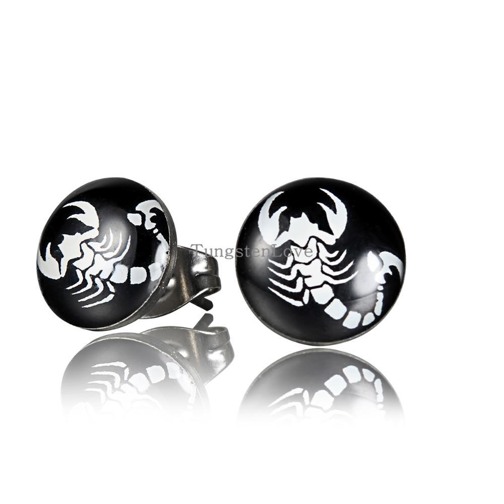 10mm Unisex Stainless Steel Round Stud Earrings Gifts For Men Women  Scorpions Earring For Pierced Ears Punk Cool Jewelry
