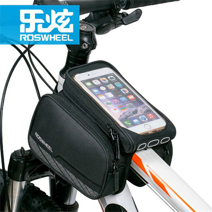 "Roswheel Bicycle Bag Reflective Front Frame Pouch Cycling Top Tube Bag 5.7"" Touchscreen Bike Mobile Phone Case <font><b>Accessories</b></font>"