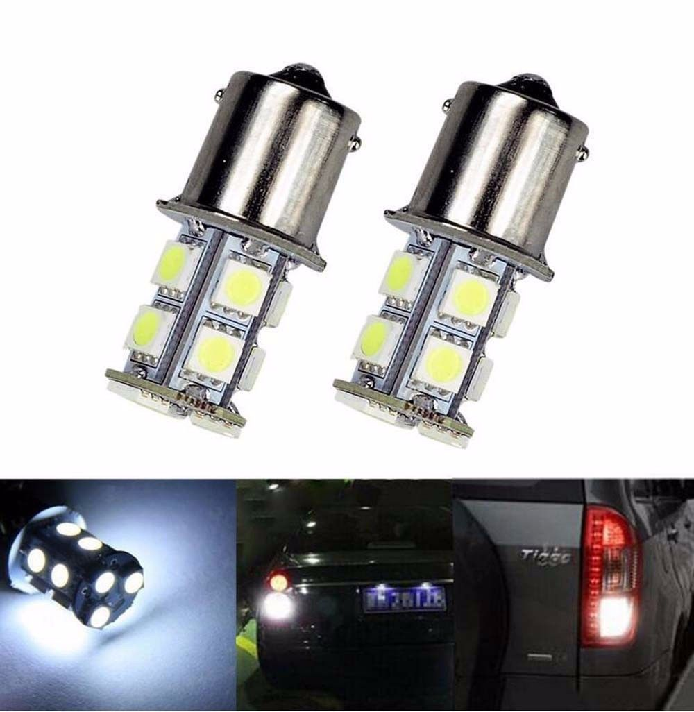 CYAN SOIL BAY 2X White 1156 BA15S P21W 5050 13-smd Car RV Trailer Reverse LED Light Bulbs 7506 1141 12V 24V