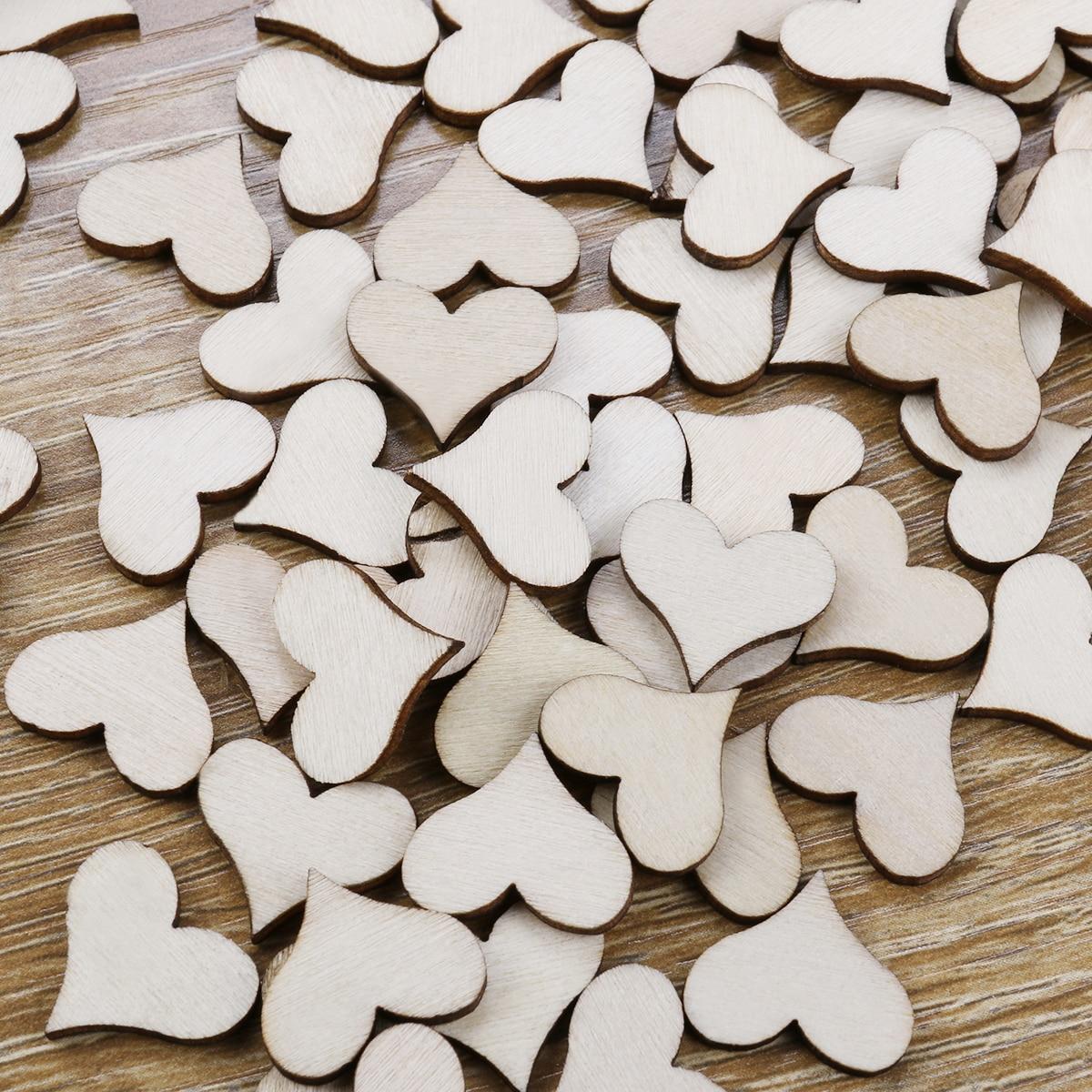 100Pcs DIY Blank Heart Shape Log Pieces Wood Slices Discs Mini ...