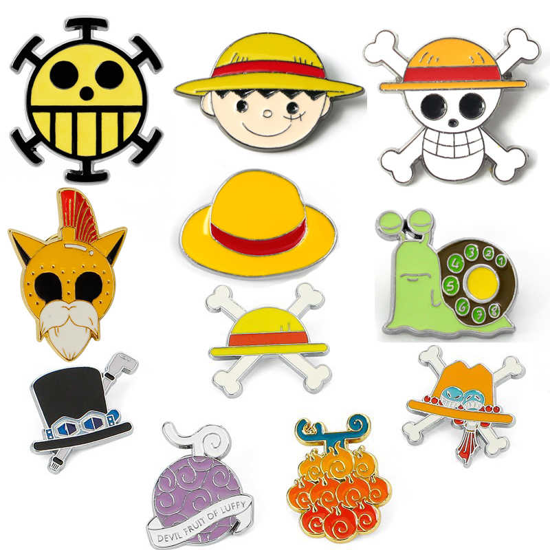 Anime Een Stuk Schedel Emaille Pins Broche Cosplay Props Duivel Fruit Gras Cap Badge Kostuums Accessoires Monkey D. luffy Broches
