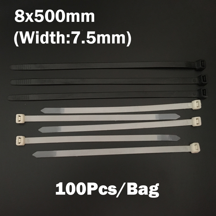 8*500mm 8x500mm (7.5mm Width) Black White Network Wire String Self-Locking Nylon Plastic Strap Wrap Fasten Zip Ties Cable Tie self tie front wrap tee