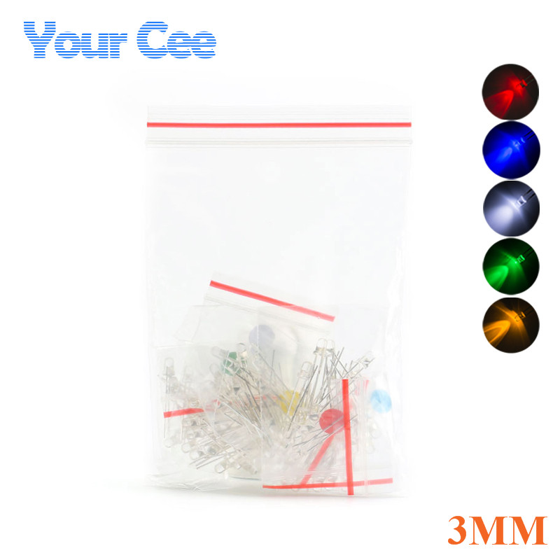 Active Components 5colors X 20pcs Waterproof, Shock-Resistant And Antimagnetic Obliging 3mm Round Transparent F3 Led Light Lamp Combination Diode Kit Red Green Blue Yellow White Assortment Kit 100pcs Diodes