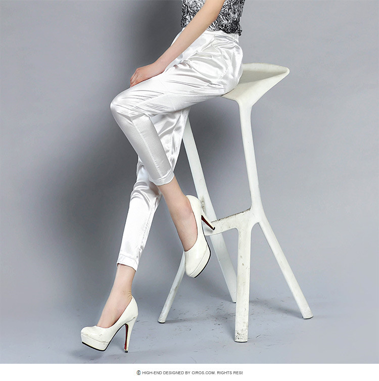4XL 4colors Imitation Silk Ankle-Length Pants Trousers Harem Pants Elegant Female Pants Workwear Women Summer Pants W706