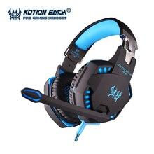 Kotion каждый G2100 профессиональный стерео бас геймер игровая гарнитура наушники с микрофоном вибрации Функция свет для ПК компьютер