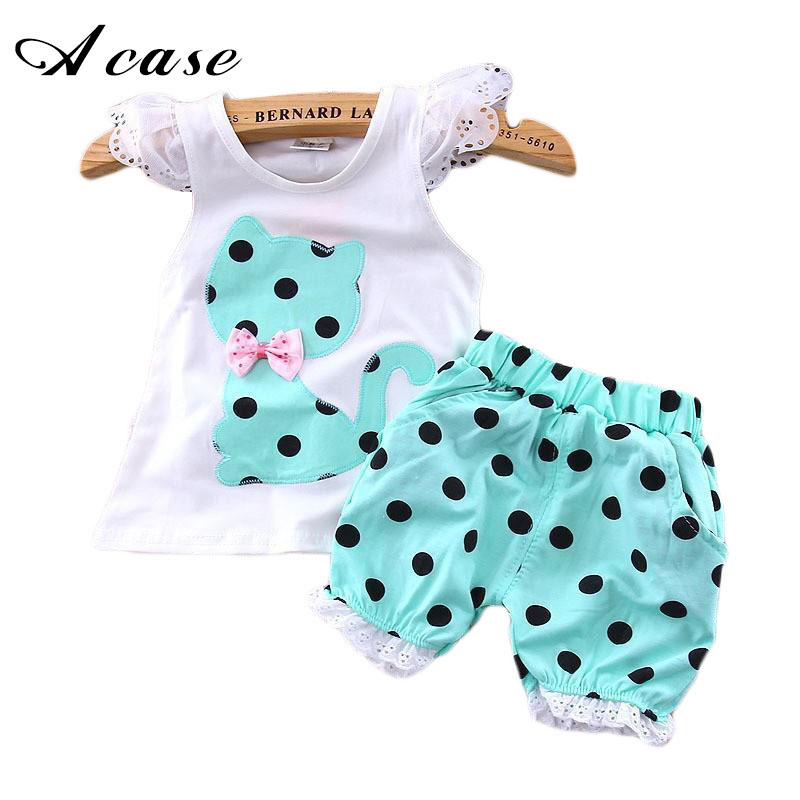 2018 Summer Baby Girls Clothing Set Children Bow Cat Lace Tops Shirt + Shorts Pants Suit 2pcs Kids Polka Dot Clothes Sets Suit 2016 fashion summer rare editios for girls cute clothing outfits kids short sleeve bow cotton polka dot dress with pants suit