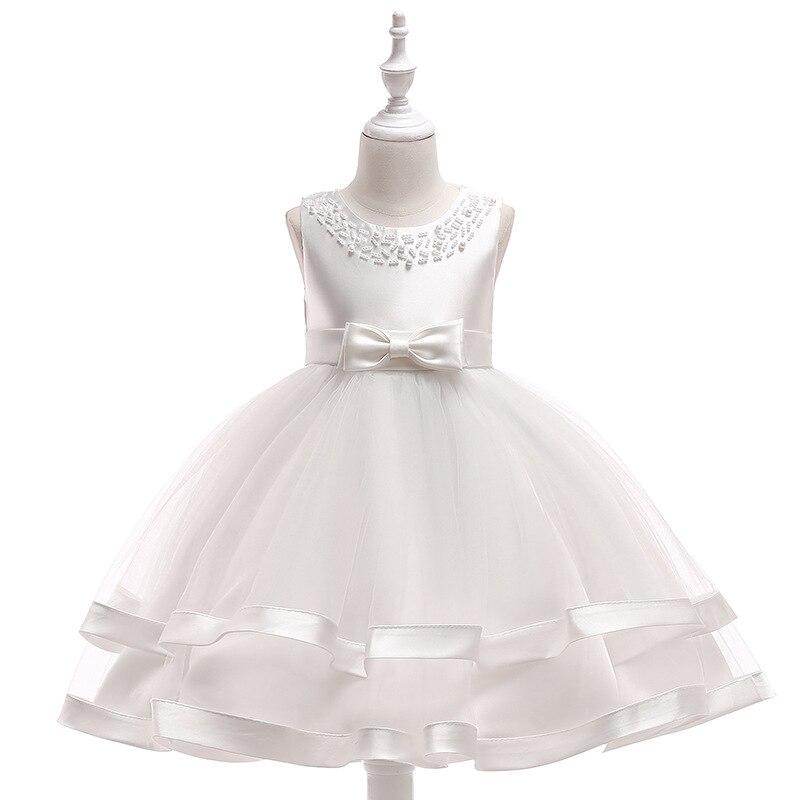 Hot Sale 2019 Summer Kids Girls Dress Sleeveless White Blue Red Princess Birthday Party Wedding Elegant Dresses for girl 2-10T