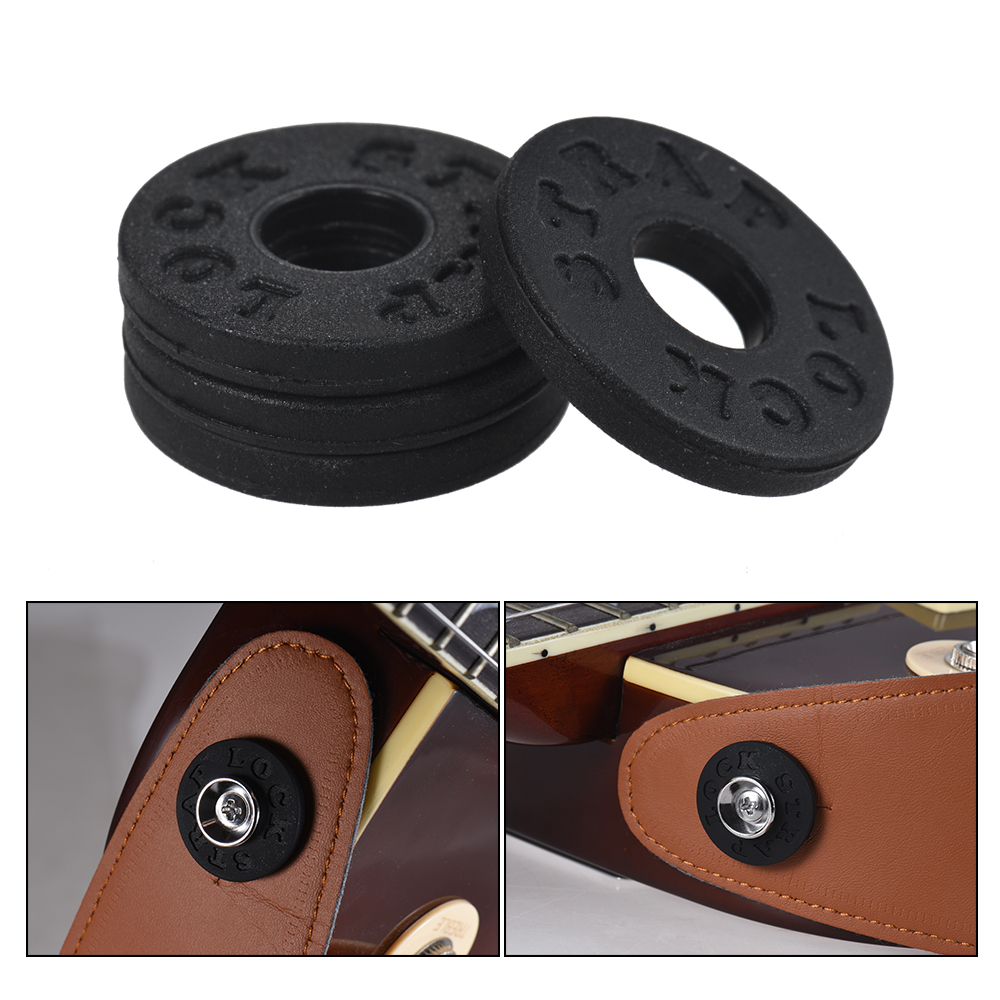 4pcs Electric Guitar Strap Locks Blocks Rubber Material Bass Guitar Strap Lock Guitar Parts & Accessories