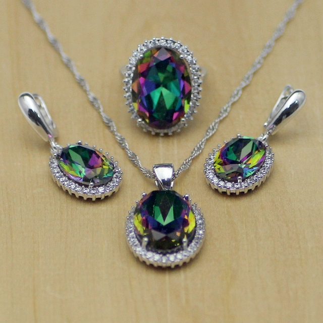 Mystic Rainbow Fire Zircon Jewelry Set Women Silver Jewelry