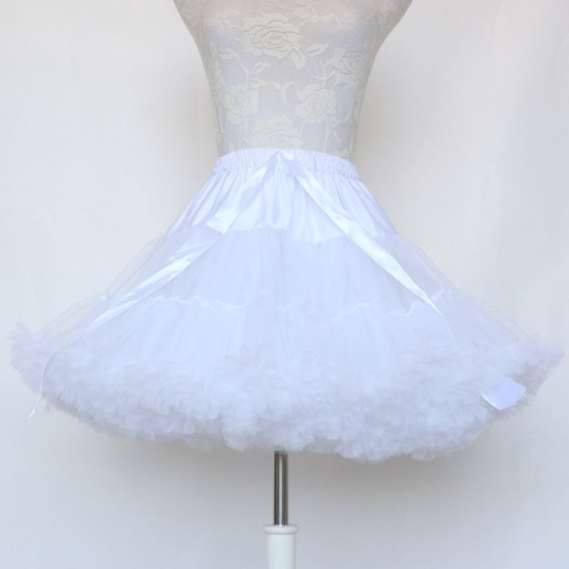Women Multi-Layer Pleated Ballet Dance Short Tutu Skirt Puffy Drawstring Waist Hoopless Cosplay Petticoat Crinoline Underskirt
