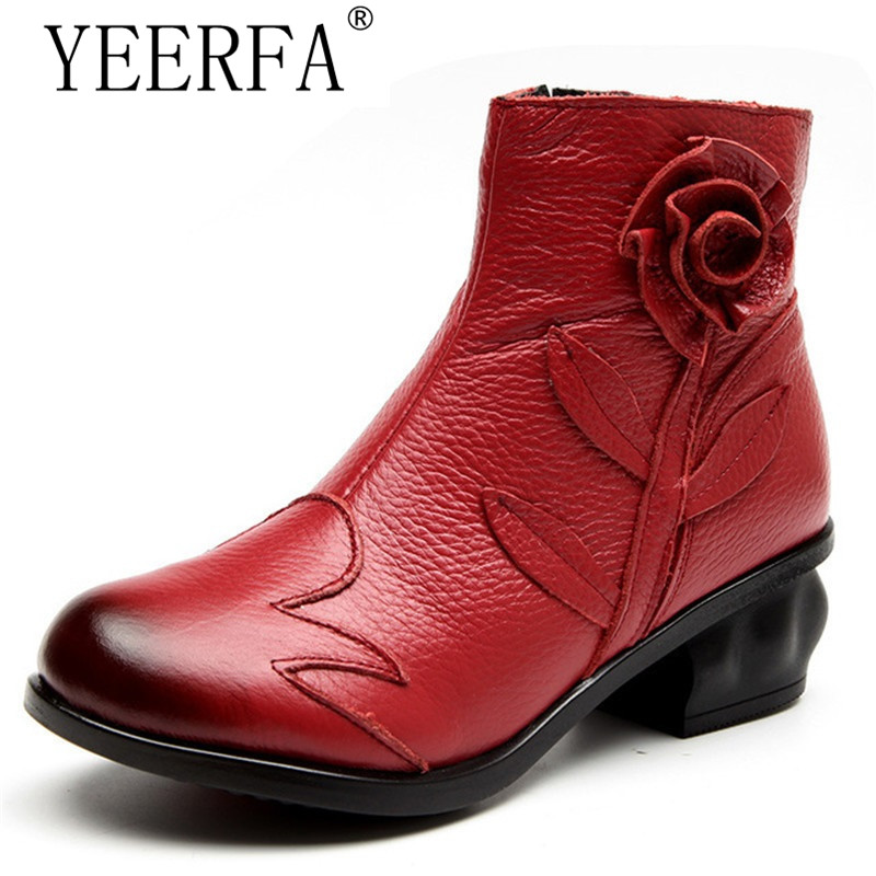 YEERFA New Arrival Fashion Women Autumn winter Genuine Leather Boots Handmade Vintage Flower Ankle Botines Shoes Woman Winter 100% genuine leather new arrival 2014 brand fashion boots vintage platform shoes short boots