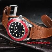 43 мм Parnis черный циферблат красный ободок Дата miyota автоматические Дайвинг мужские часы 591C