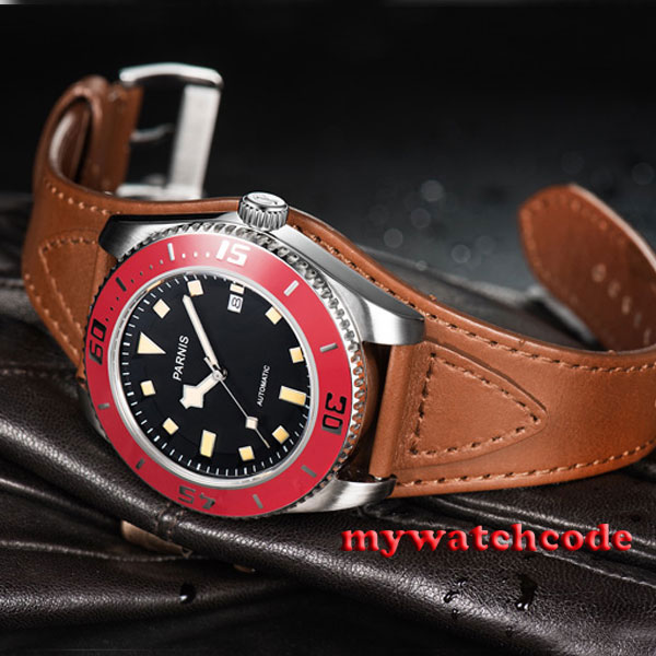 43mm Parnis black dial red bezel date miyota automatic diving mens watch 591C все цены