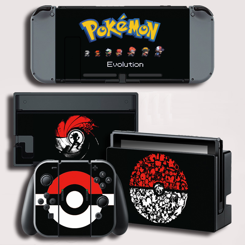 Vinyl Screen Sticker for Pokemon Evolutiom Skins Stickers for Nintendo Switch NS Console +Controller+Stand Sticker