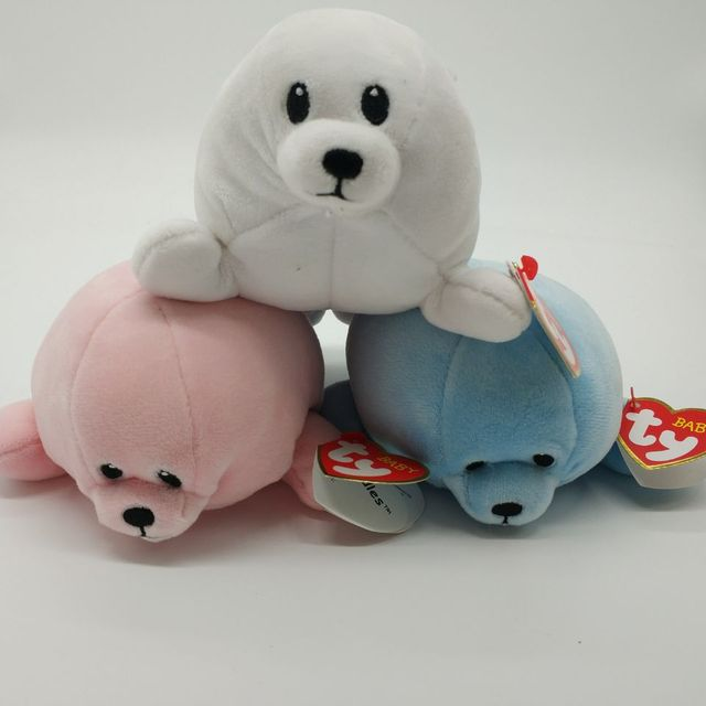 Baby Ty Collection Doodles Pink Seal Squirt Blue Seal Tiny White