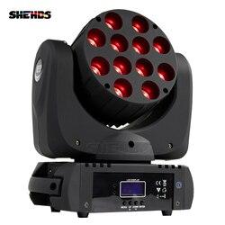 Haz de luz LED con cabezal móvil 12x12W RGBW ledes cuádruples con excelente precio, 9/16 canales, controlador DMX, luces de escenario SHEHDS
