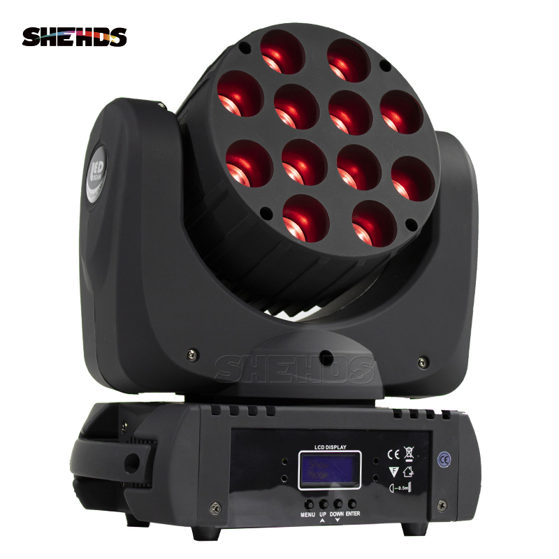 LED Beam Moving Head Light 12x12W RGBW Quad LEDs With Excellent Pragrams 9/16 Channels DMX Controller SHEHDS Stage Lighting