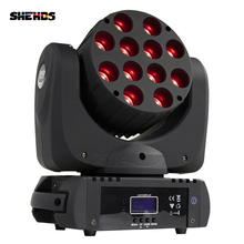 SHEHDS projecteur de lumière à tête mobile 12x12W RGBW Quad LED s avec excellents pragmes, LED canaux, contrôle DMX