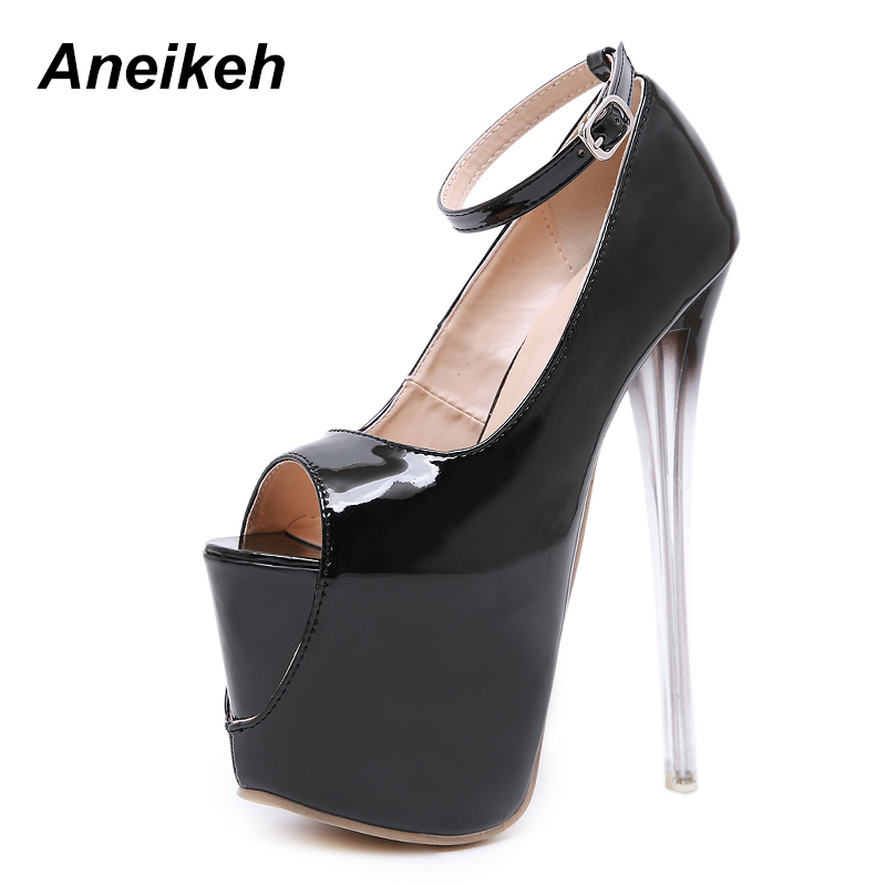 Aneikeh 2018 Spring <font><b>Sexy</b></font> Peep Toe Shoes Woman <font><b>18cm</b></font> Ultra <font><b>High</b></font> Thin <font><b>Heels</b></font> Shoes Fashion Female Buckle Strap Pumps zapatos mujer image