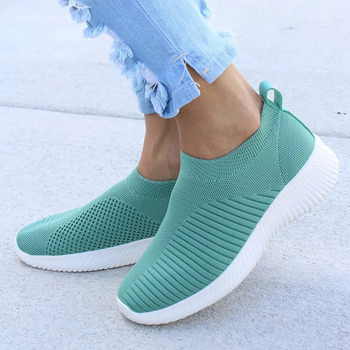 Women Shoes Knitting Sock Sneakers Women Spring Summer Slip On Flat Shoes Women Plus Size Loafers Flats Walking krasovki Famela 11