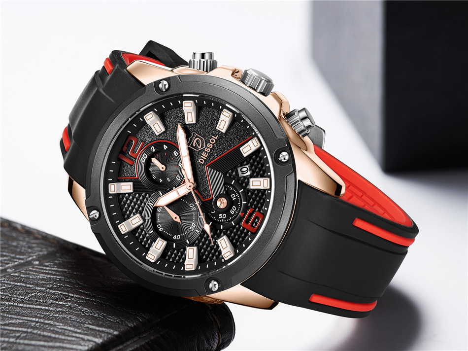 DIESSOL Men's Fashion Sports Quartz Watch Mens Watches Top Brand Luxury Rubber Band Waterproof Business Watch Relogio Masculino 22