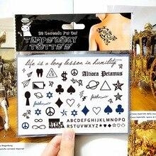 Black Signs Child Temporary Body Art Flash TattooSticker 17x10cm Waterproof Tatoo Painless Henna Selfie Tattoo Stickers
