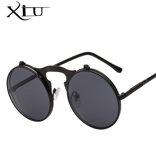 d0210dc0517 XIU Flip Up Steampunk Sunglasses Men Round Vintage Mens Sunglass Brand  Designer Fashion Glasses UV400