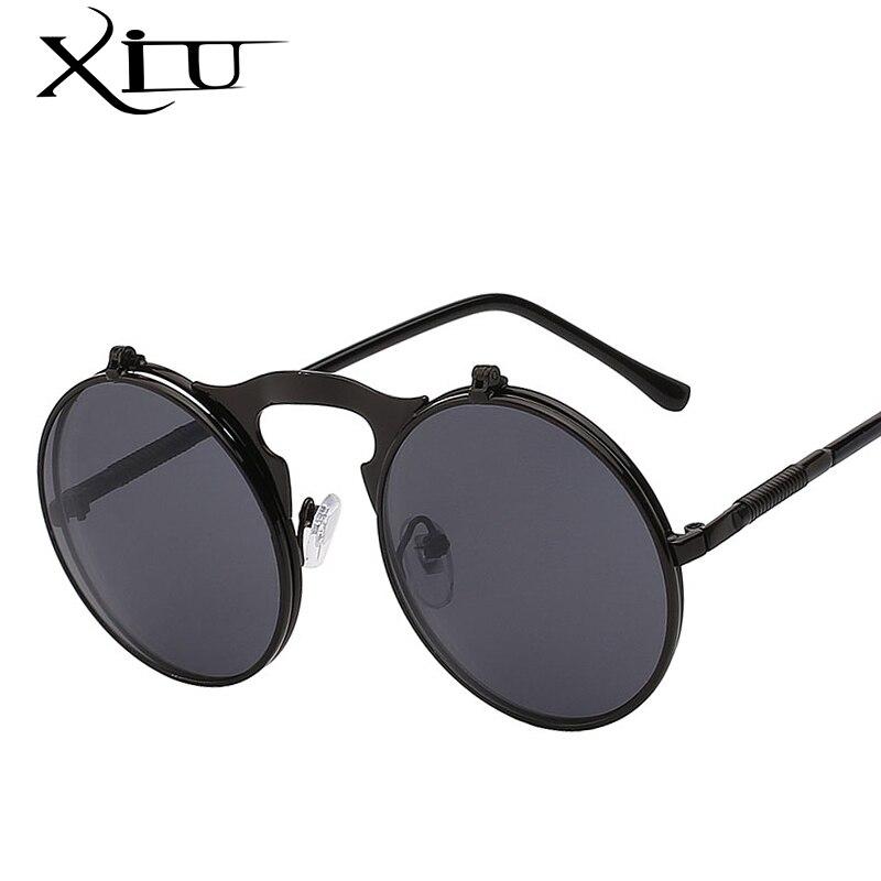 XIU Flip Up Steampunk lunettes de Soleil Hommes Round Vintage Hommes Lunettes De Soleil Mode De Concepteur De Marque UV400