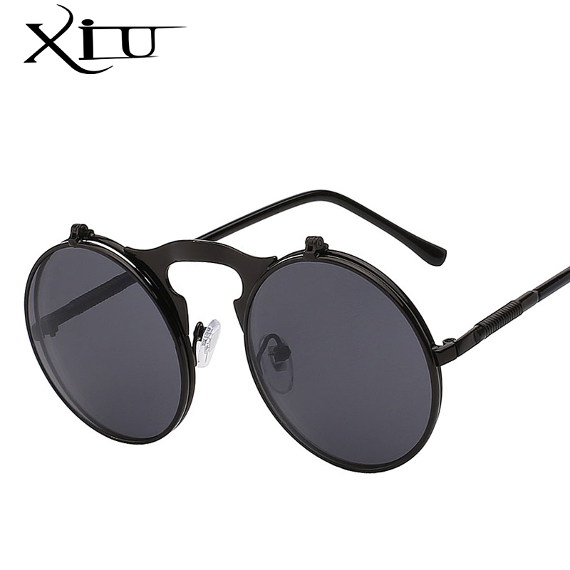 XIU Levante Steampunk Óculos De Sol Dos Homens Rodada Do Vintage Dos Homens Óculos De Sol Marca Designer Moda Óculos UV400