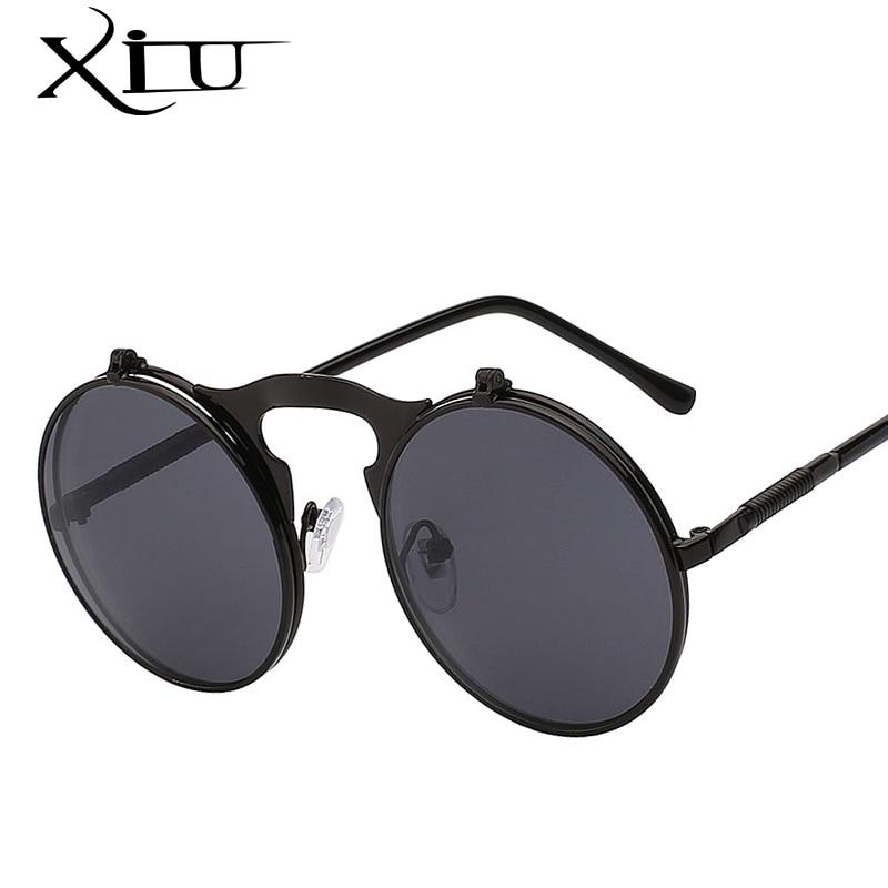 XIU Flip Up Steampunk Sonnenbrille Männer Runde Vintage Herren Sonnenbrille Marke Designer Fashion Brille UV400
