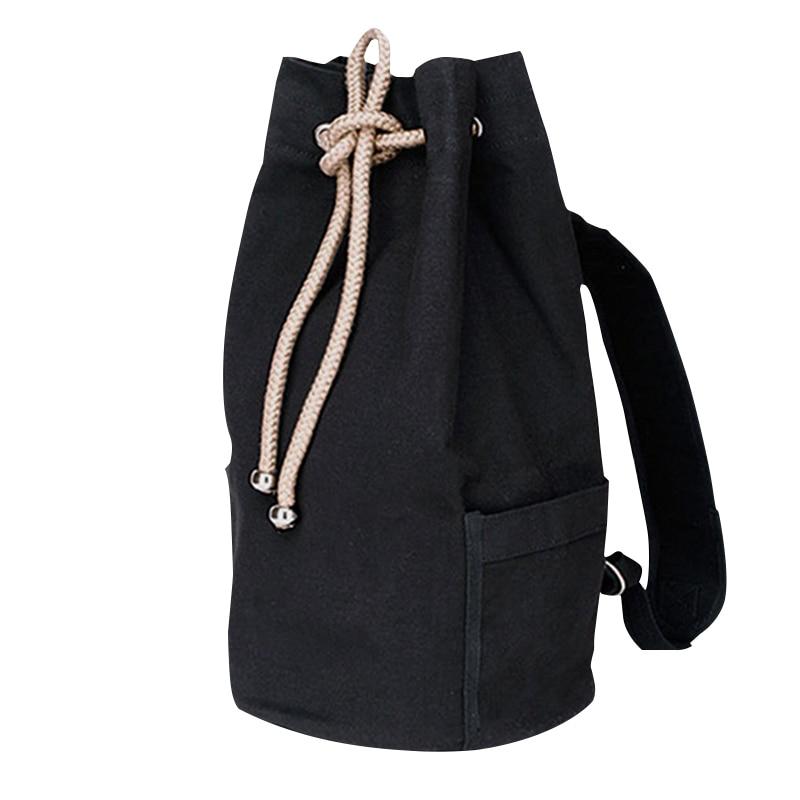 Ryggsäckar Män Svart Högkvalitets Canvas Drawstring Fashion Barrel Bag Enkel Solid Bag Man X027