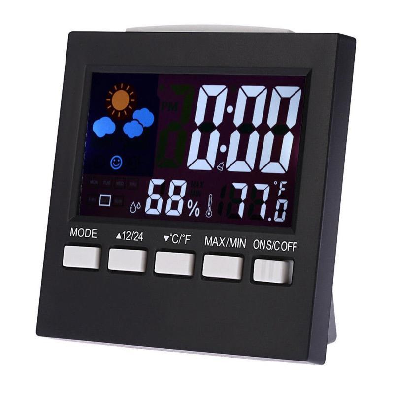 Digital Weather Forecast Station Alarm Clock Kids Indoor /Outdoor Hygrometer Temperature LCD Screen Humidity Monitor Alarm Clock