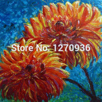 Beautiful Orange Chrysanthemum Oil Painting for Living Room Decoration Handmade Flower Oil Painting On Canvas Wall Oil Picture